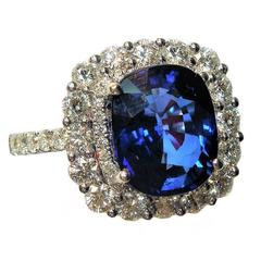 5.02 AGL Certified Blue Sapphire Diamond Gold Ring
