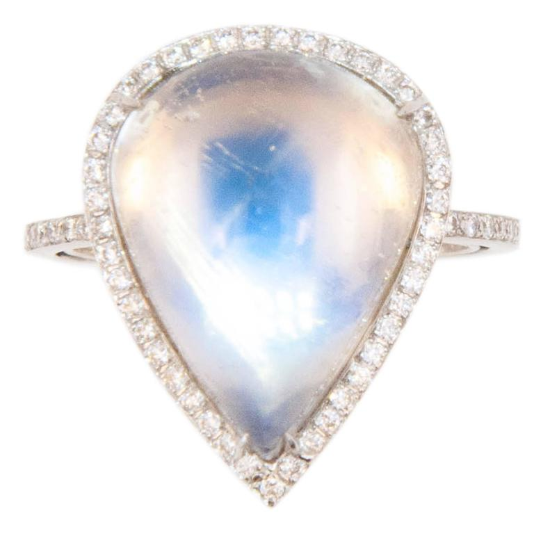 Laura Munder Moonstone Diamond White Gold Ring
