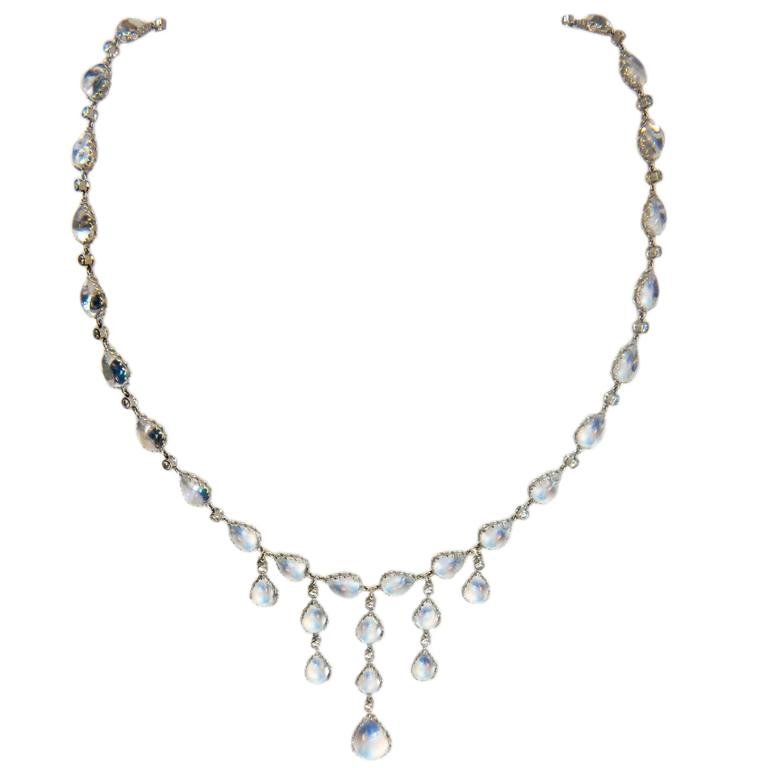 Laura Munder Moonstone Diamond White Gold Necklace