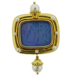 Elizabeth Locke Pearl Venetian Glass Intaglio Gold Brooch