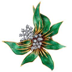 Italian Floral Guilloche Enamel Diamond Gold Brooch