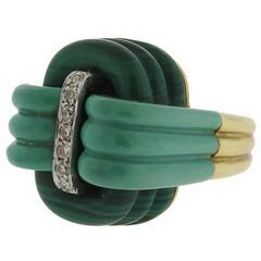 1970s Malachite Diamond gold Ring