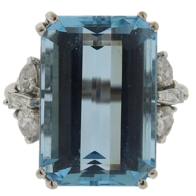 H Stern Aquamarine Diamond Gold Ring For Sale