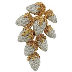 5 Carats Diamonds Gold Brooch Pin