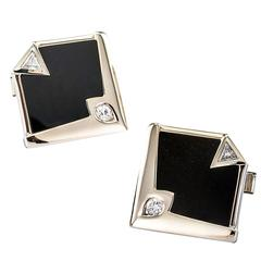 Modernist Onyx Diamond White Gold Cufflinks