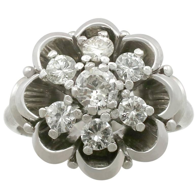 1950s Diamond and White Gold Cluster Ring