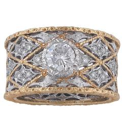 1970s Buccellati Diamond Bicolored Gold Band Ring