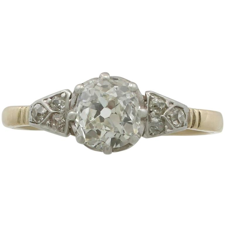 Antique 1910s 1.16 Carat Diamond and Yellow Gold Solitaire Ring