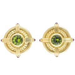 Theo Fennell Peridot Ruby Gold Earrings