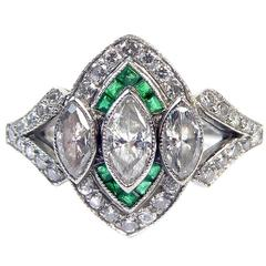 Vintage Art Deco Style Emerald and Diamond Cluster Ring