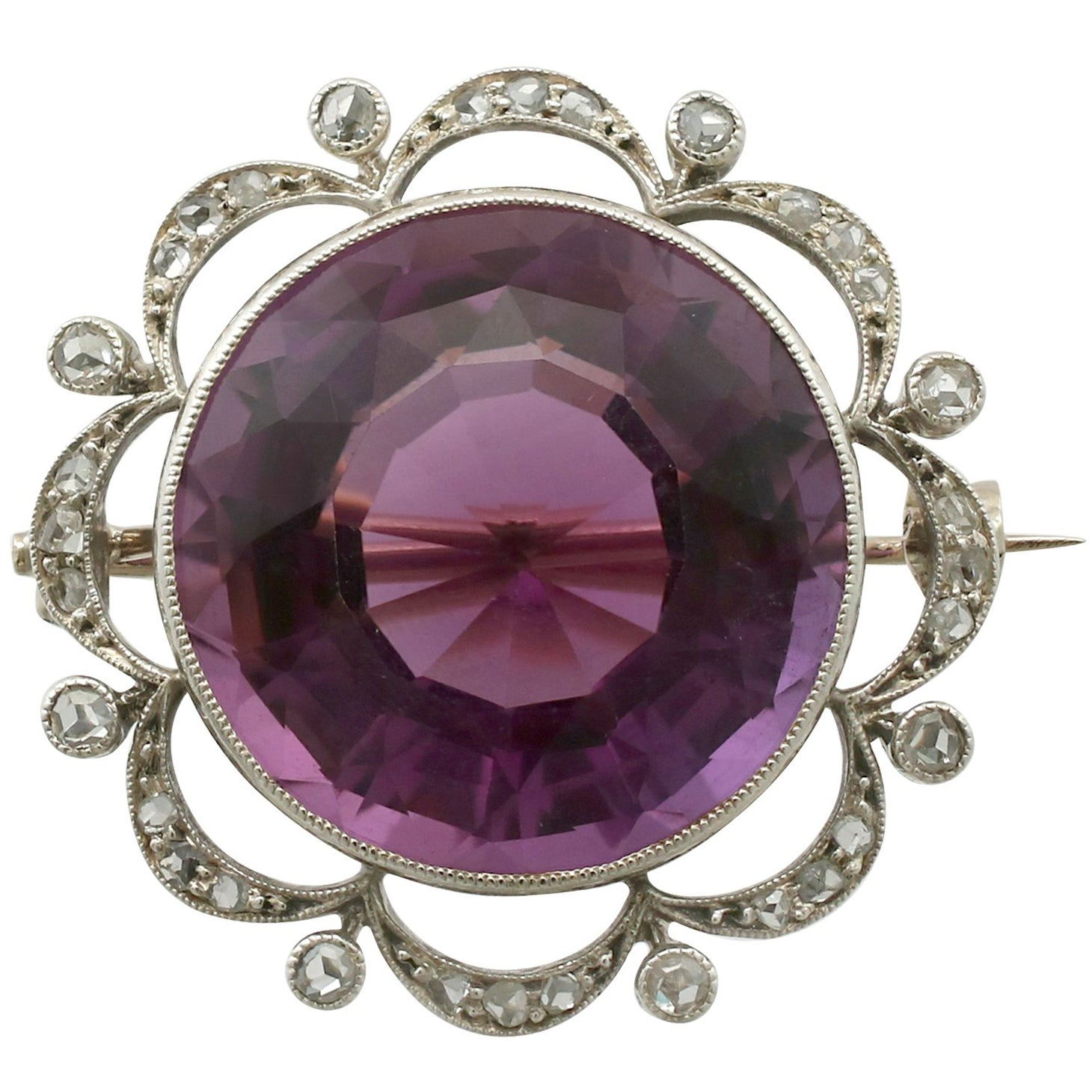 Lovely Ladies/womens 9ct 9carat Gold Brooch Set With A Pearl Amethysts Jewelry & Watches