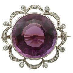 Antique 26.46 Carat Amethyst and Diamond Yellow Gold and Silver Brooch