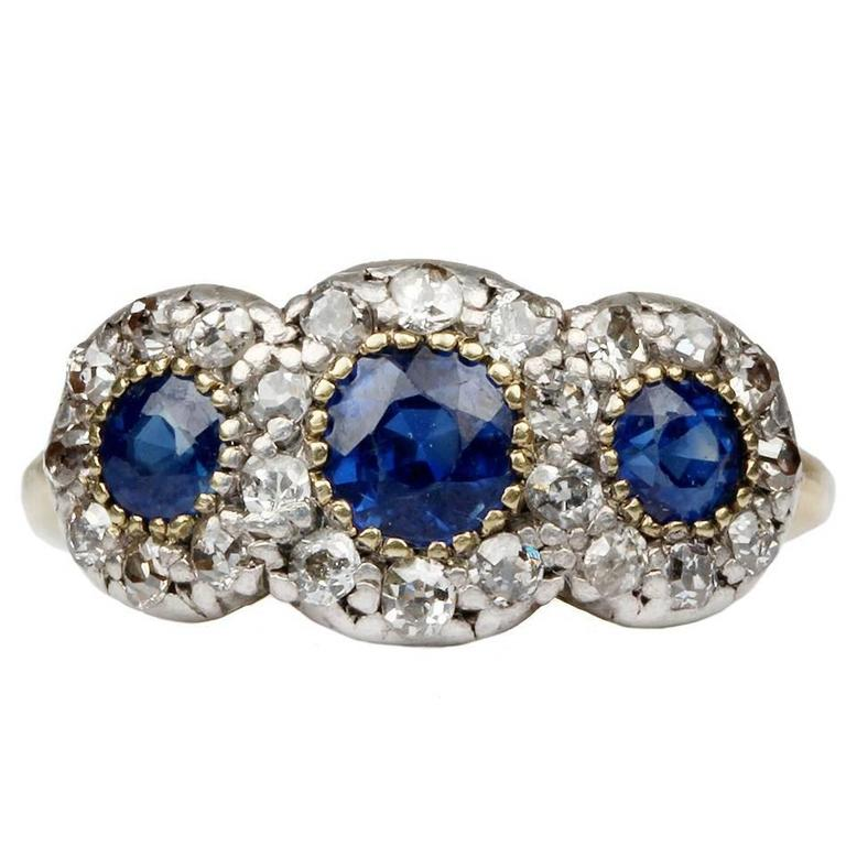 19th Century Sapphire Diamond Ring 1