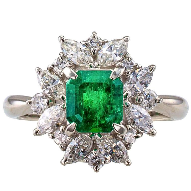 Square Emerald-Cut 0.89 Carat Emerald Diamond Platinum Ring 1