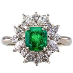 Square Emerald-Cut 0.89 Carat Emerald Diamond Platinum Ring