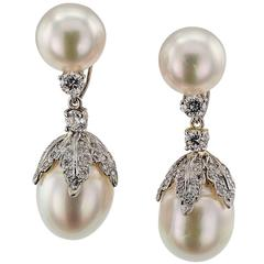 Day into Night South Sea Pearl Diamond Gold Earrings