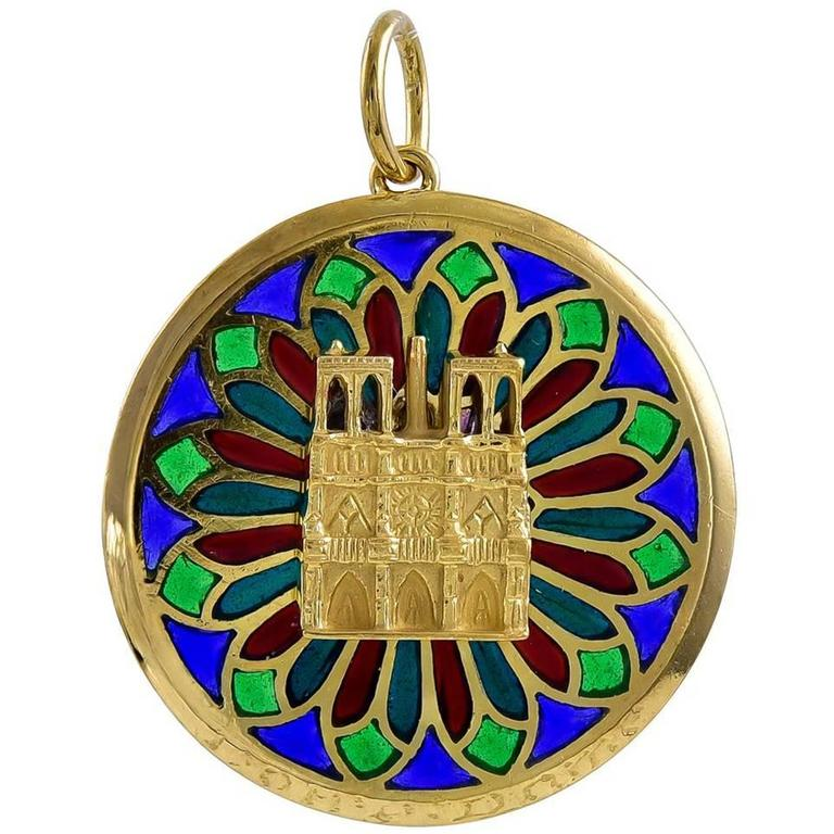 French gold and plique a jour notre dame charm pendant for sale at french gold and plique a jour notre dame charm pendant for sale aloadofball Images
