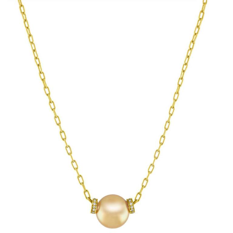 South Sea Yellow Gold Pearl And 0.50 Carats Diamond Gold Necklace