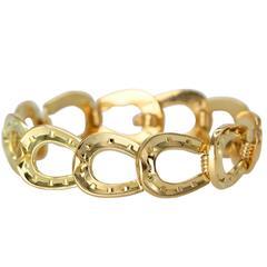 Hermès Gold Horseshoe Link Bracelet
