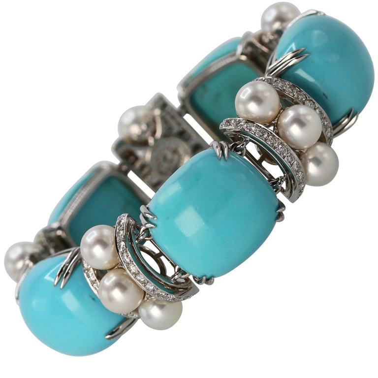 Seaman Schepps Turquoise Cultured Pearl Diamond Bracelet 1