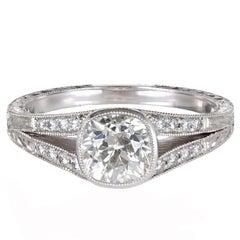 Peter Suchy 1.09 Carat Diamond Platinum Split Shank Engagement Ring