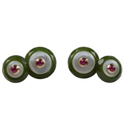 Jade Mother-of-Pearl Ruby Gold Cufflinks