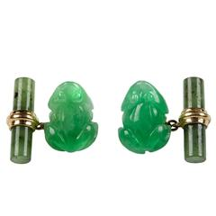 Jade Frog Gold Cufflinks