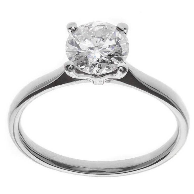 1.00 Carat Solitaire Diamond Platinum Ring