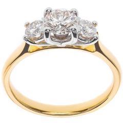 1.00 Carat Diamond Gold Platinum Trilogy Ring