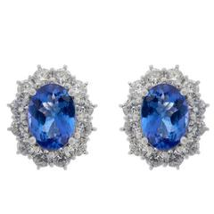 18 Carat White Gold 2.38 Carat Tanzanite and 1.20 Carat Diamond Earrings