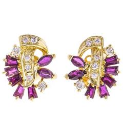 Vintage 0.70 Carat Ruby and Diamond Cluster Earrings
