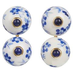 TPL Vermeil Porcelain Sapphire Earrings