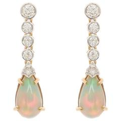 18 Carat Gold 4.00 Carat Opal and 0.96 Carat Diamond Drop Earrings