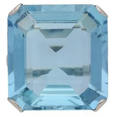Art Deco Aquamarine platinum Ring, circa 1920