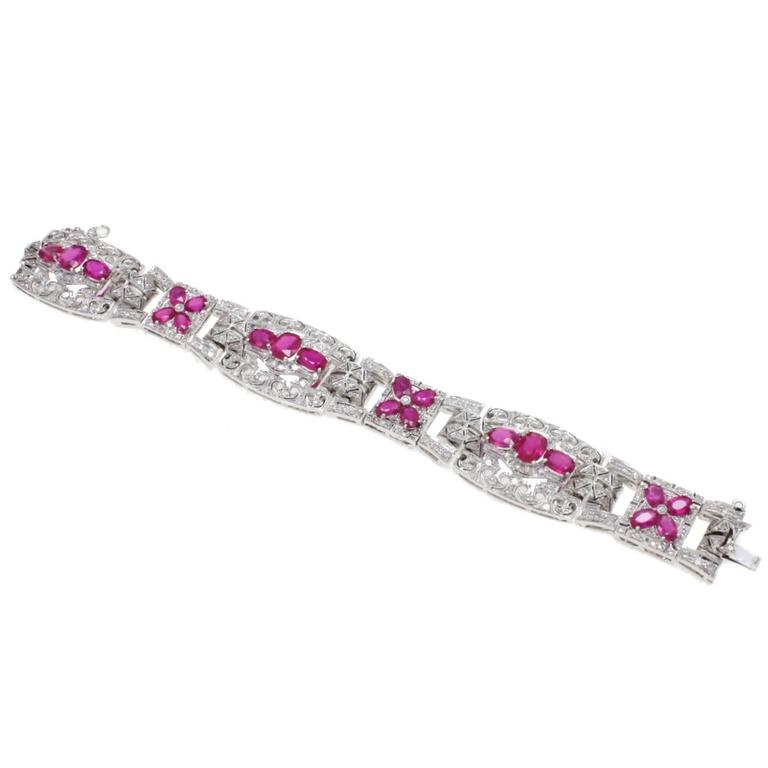 Luise Gold Diamond Ruby Bracelet 1