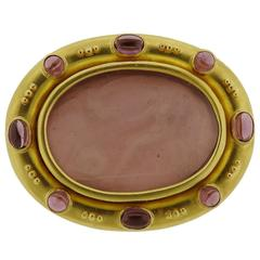 Elizabeth Locke Tourmaline Venetian Glass Intaglio Gold Brooch Pendant