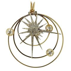 Impressive Ilias Lalaounis Gold Diamond Stars Pendant
