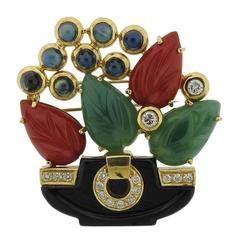 1980s Tutti Frutti Carved Gemstone Diamond Gold Brooch Pin