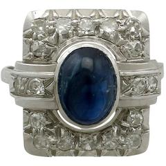 Antique 1.85 Carat Sapphire and Diamond Platinum Art Deco Ring, 1940s