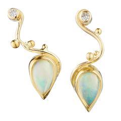 Bergsoe Fire Opal Diamond Gold Earrings