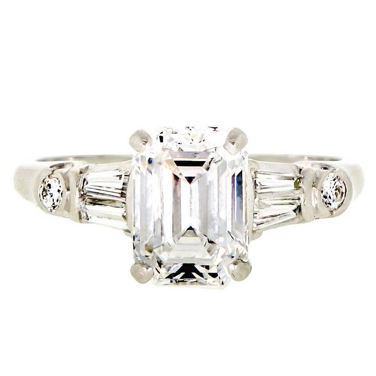 Vintage 1.84 Carat Emerald Cut Diamond and Platinum Engagement Ring