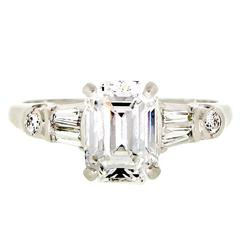 Vintage 1.84 Carat Emerald Cut Diamond and Platinum Engagement Ring
