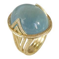 Jade Jagger Aquamarine Cabochon Ring