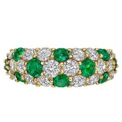 Emerald and Diamond Domed Ring