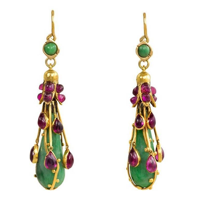 Art Nouveau Jade Ruby Gold Earrings For Sale