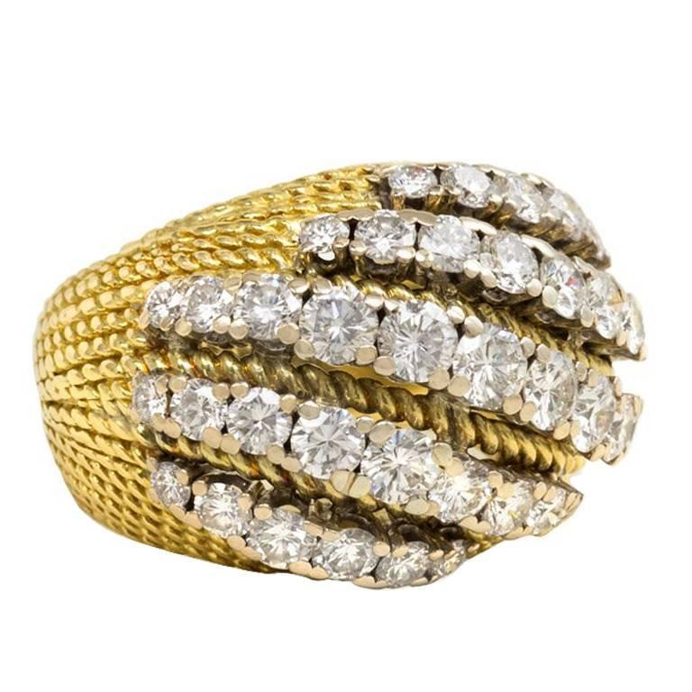Mellerio 1950s Diamond Gold Platinum Ring 1