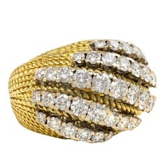 Mellerio, France 1950s Gold and Diamond Striped Bombé Ring