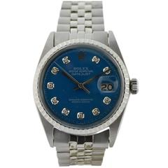 Rolex Stainless Steel Datejust Blue Diamond Dial Wristwatch, circa 1970s