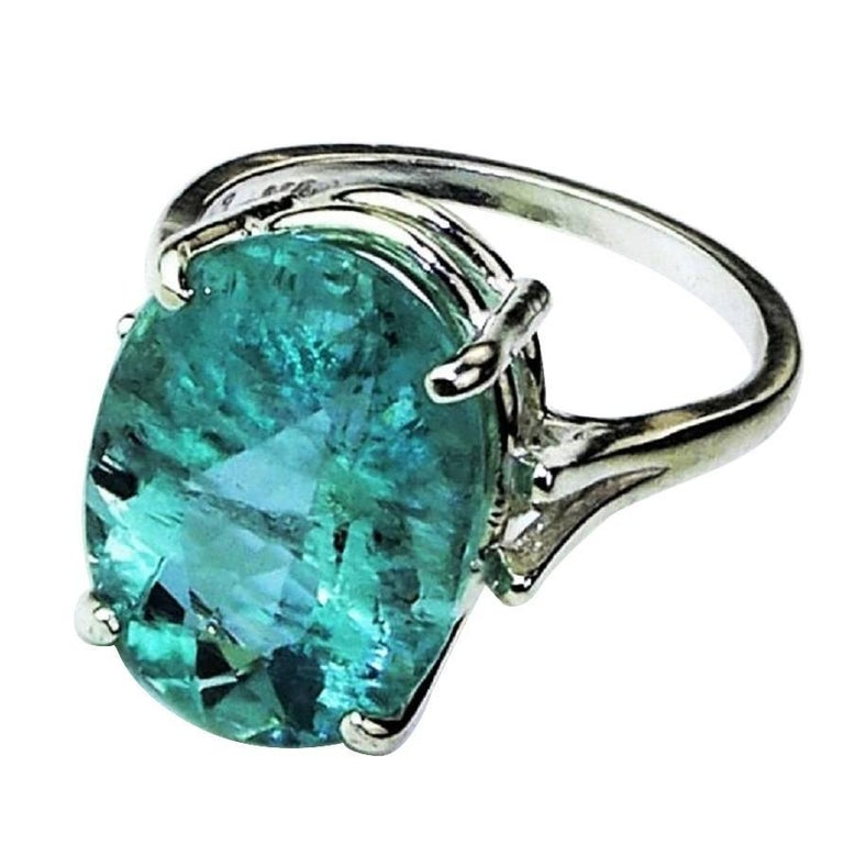 Oval Bright Blue Aquamarine Sterling Silver Cocktail Ring