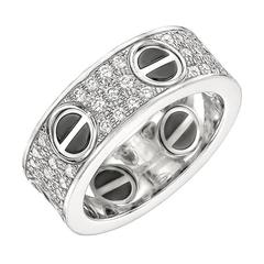 Cartier Ceramic Diamond Gold Love Band Ring